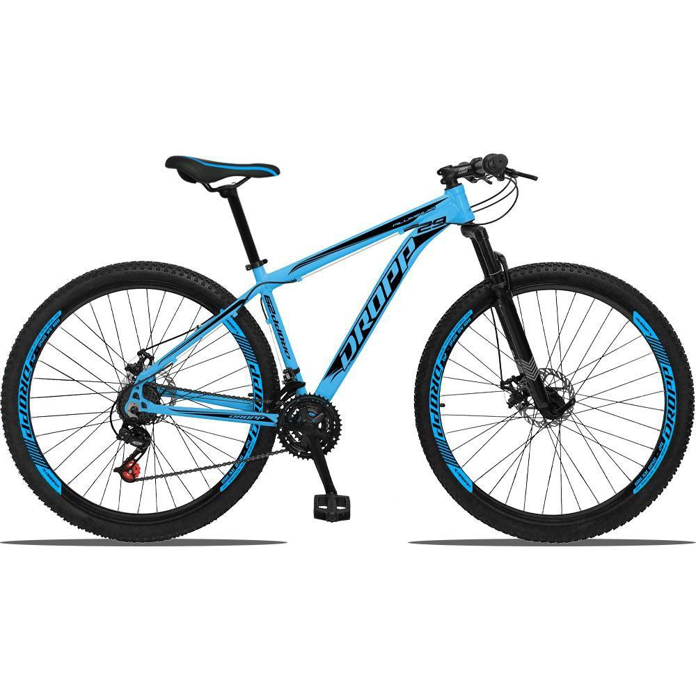 Bicicleta Aro 29 Freio a Disco Mecânico Quadro 17 Alumínio 21 Marchas Azul Preto - Dropp