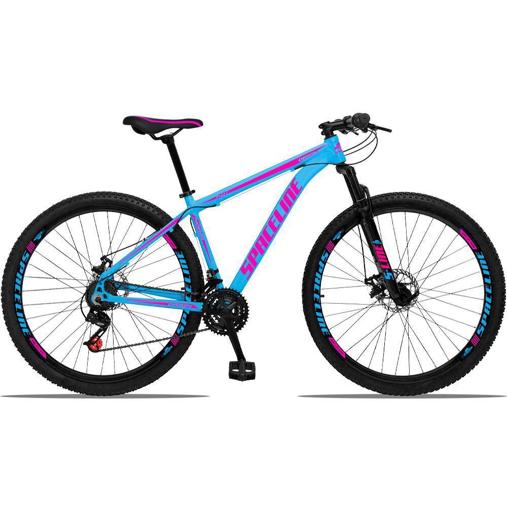 Bicicleta Aro 29 Quadro 21 Alumínio 21v com Suspensão e Freio Disco Orion Azul/Pink - Spaceline