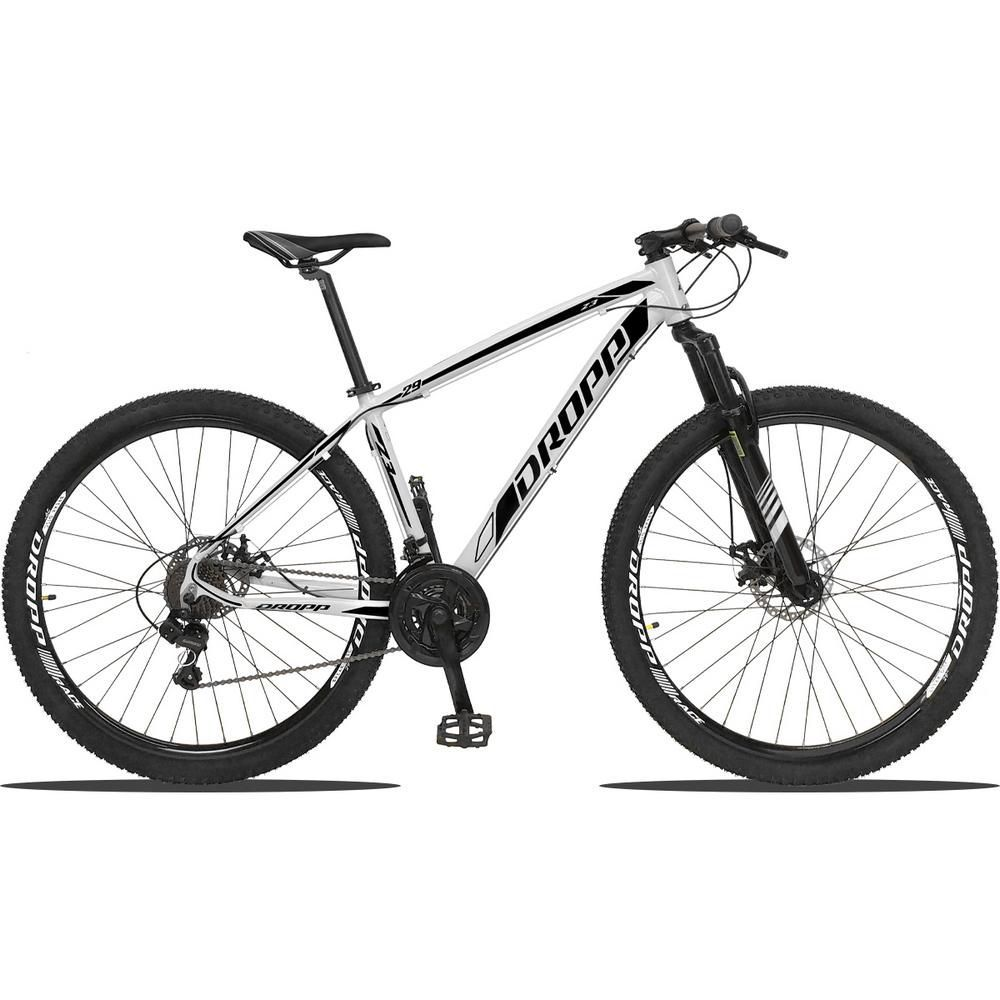 Bicicleta Aro 29 Quadro 21 Alumínio 21v Câmbio Shimano Freio Disco Hidráulico Z3 Branco/Preto - Dropp