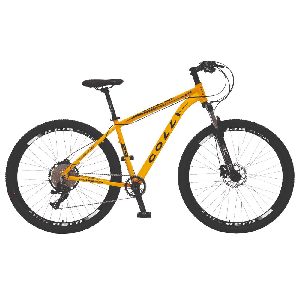 Bicicleta Colli MTB, Aro 29, 12 Vel, Freios a Disco Hidráulicos, Suspensão Dianteira c/ Trava no Guidão Amarelo Fosco - Colli Bike