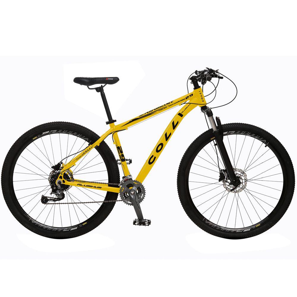 Bicicleta Esportiva Aro 29 Alívio Shimano Suspensão Freio a Disco 531-A Quadro 18 Alumínio Amarelo Fosco - Colli Bike