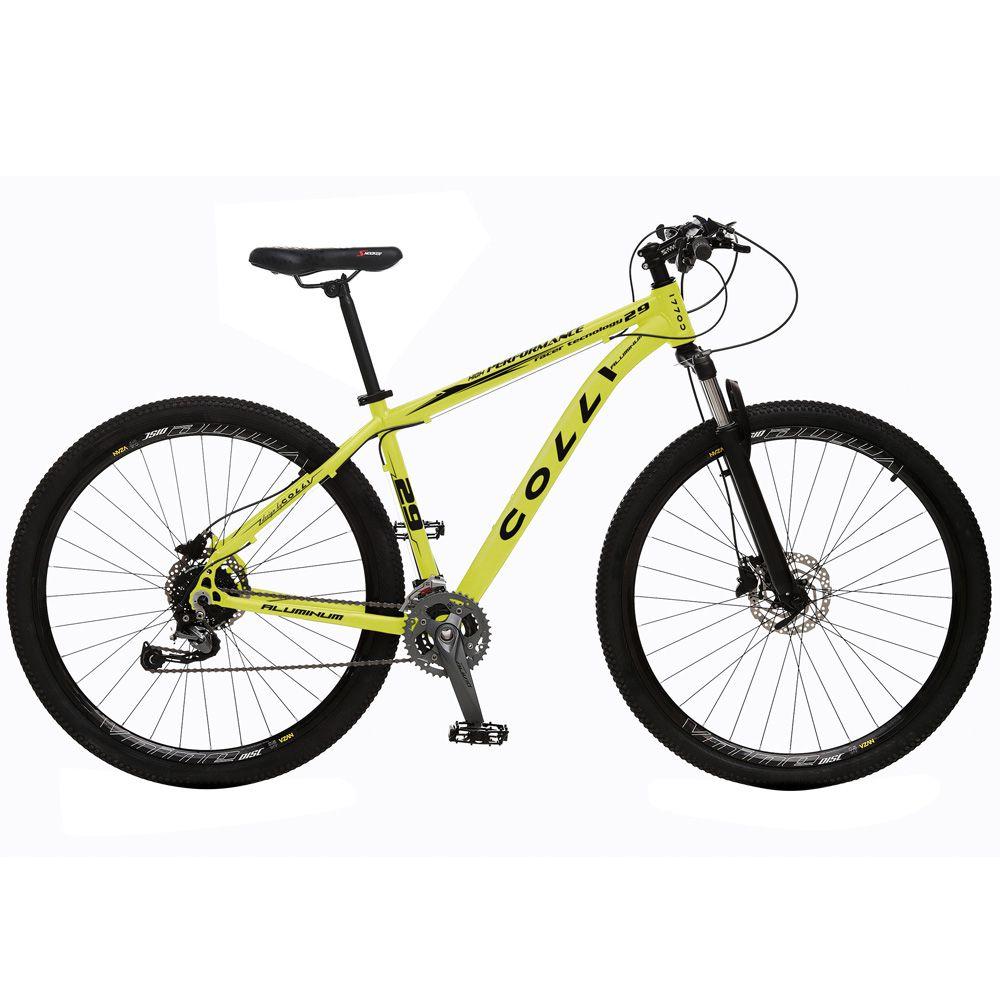 Bicicleta Esportiva Aro 29 Alívio Shimano Suspensão Freio a Disco 531-A Quadro 18 Alumínio Amarelo Neon - Colli Bike