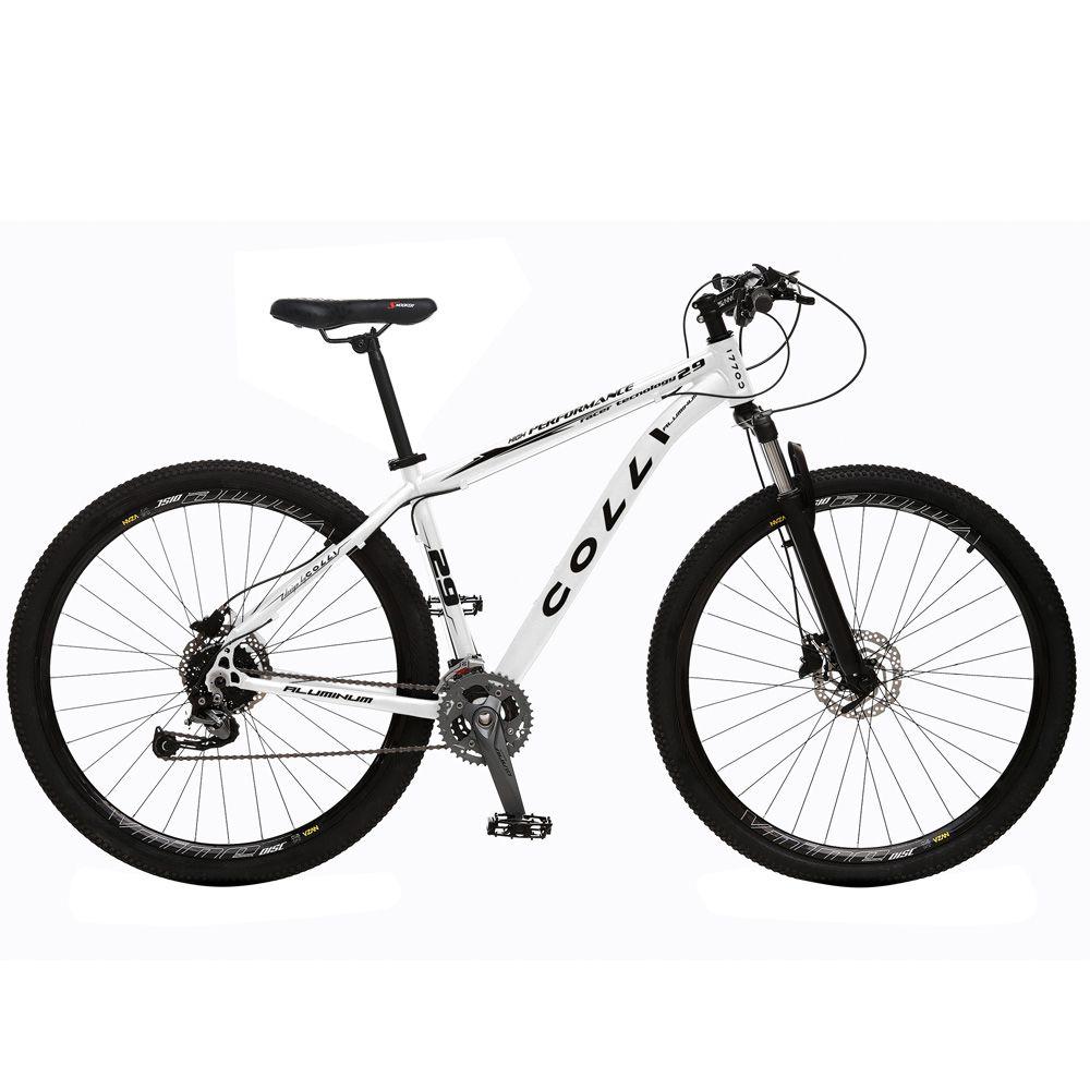 Bicicleta Esportiva Aro 29 Alívio Shimano Suspensão Freio a Disco 531-A Quadro 18 Alumínio Branco - Colli Bike