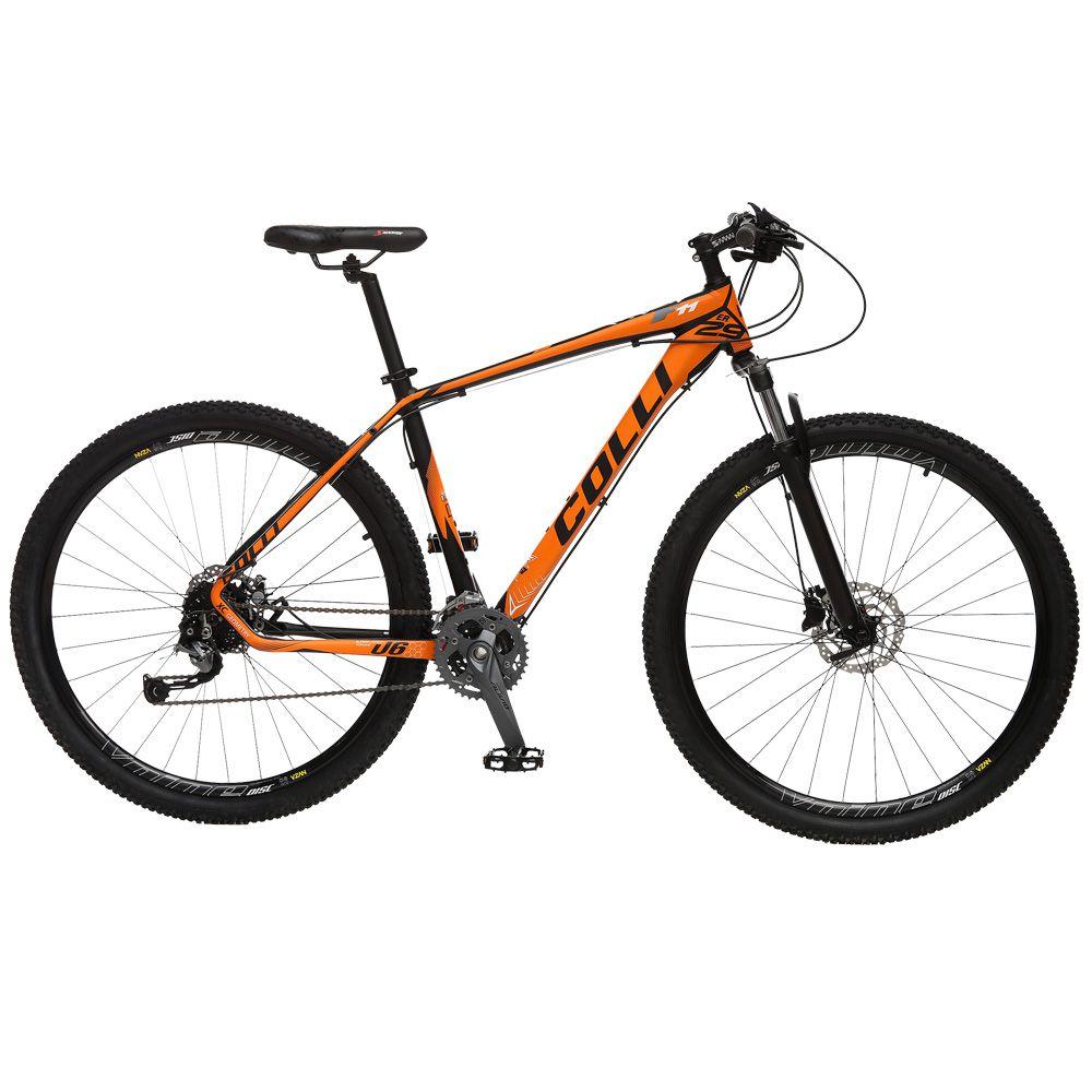 Bicicleta Esportiva Aro 29 Alívio Shimano Suspensão Freio a Disco F11 Quadro 18 Alumínio Preto/Laranja - Colli Bike