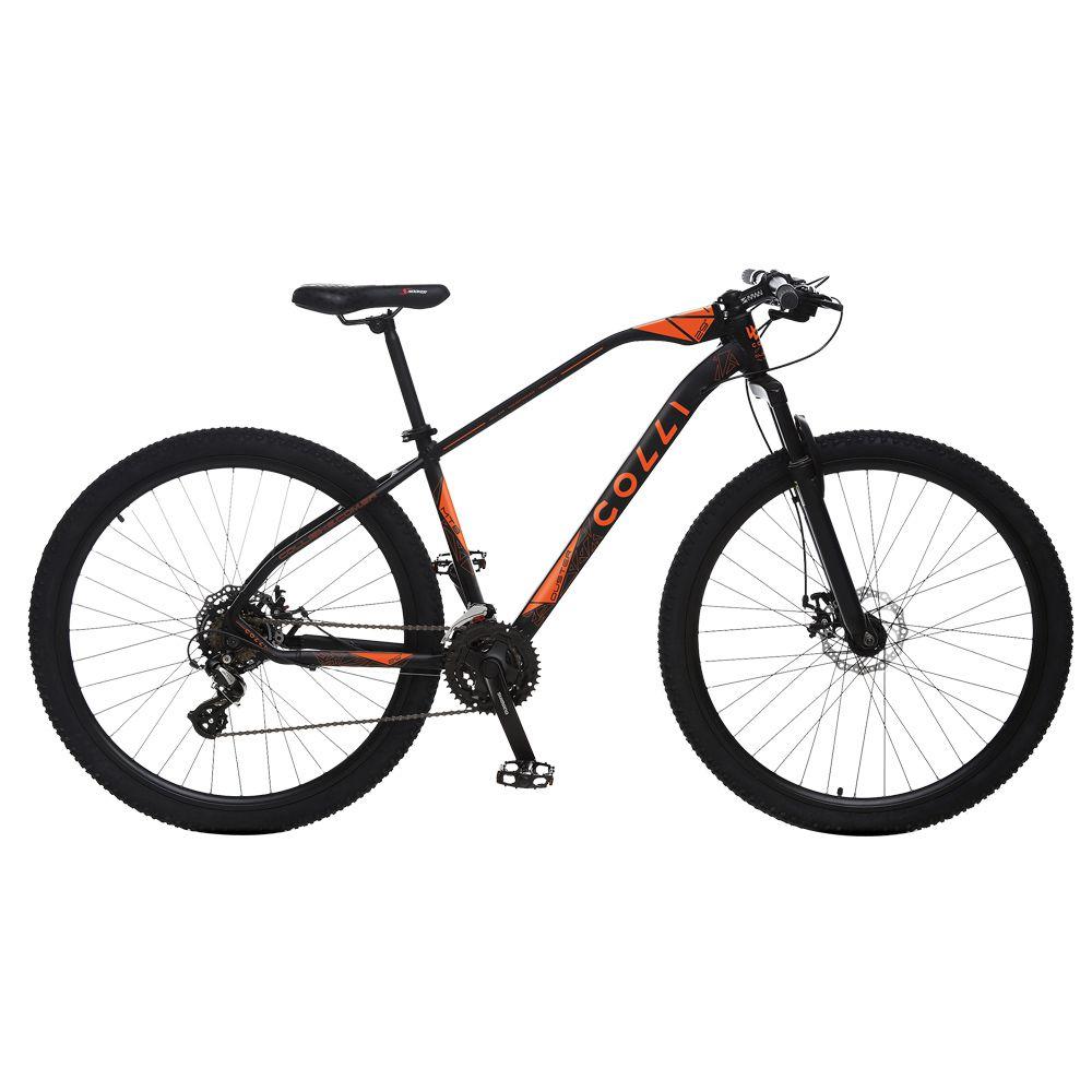 Bicicleta Esportiva Aro 29 Altus Shimano 24v Suspensão Freio a Disco Duster Quadro 17 Alumínio Preto/Laranja - Colli Bike