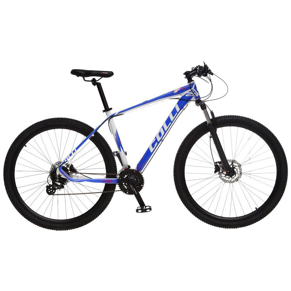 Bicicleta Esportiva Aro 29 Altus Shimano Suspensão Freio a Disco F11 Quadro 18 Alumínio Branco/Azul - Colli Bike