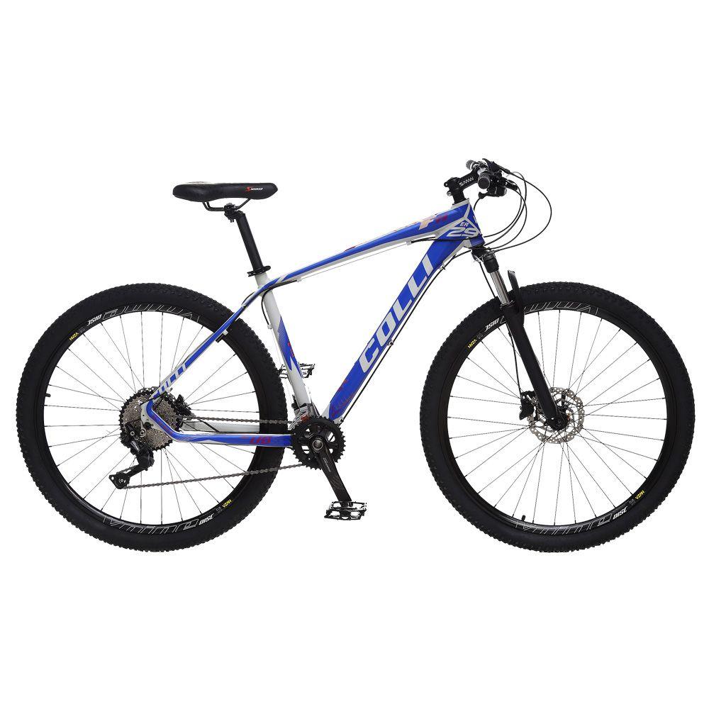 Bicicleta Esportiva Aro 29 Deore Shimano Suspensão Freio a Disco F11 Quadro 18 Alumínio Branco/Azul - Colli Bike
