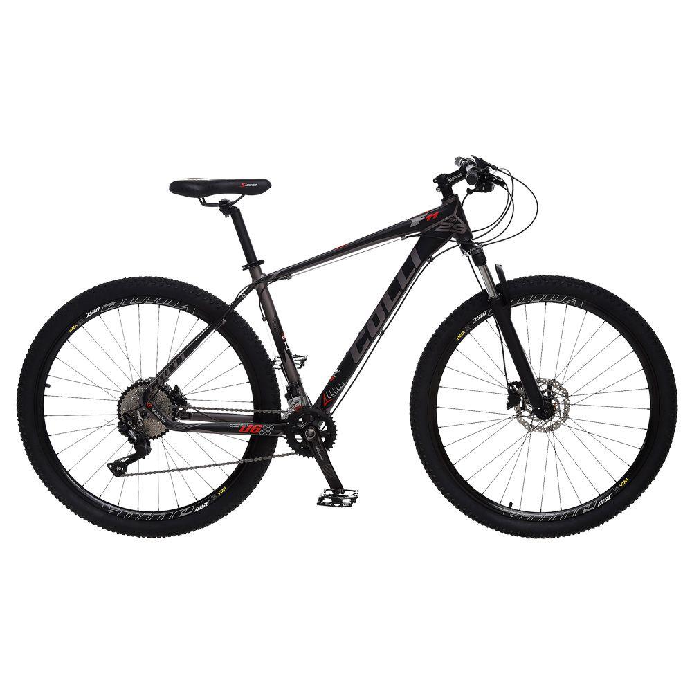 Bicicleta Esportiva Aro 29 Deore Shimano Suspensão Freio a Disco F11 Quadro 18 Alumínio Preto Fosco - Colli Bike