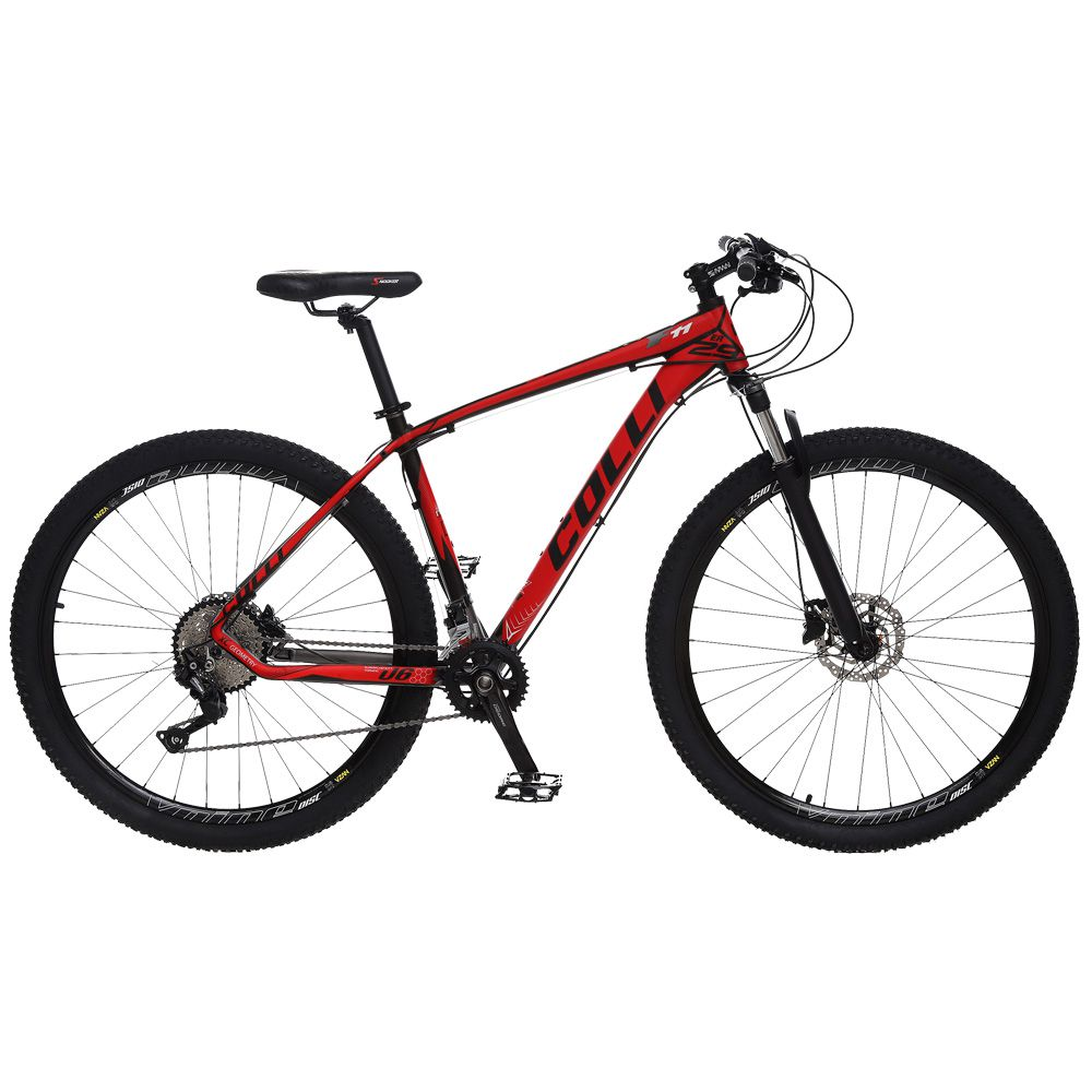 Bicicleta Esportiva Aro 29 Deore Shimano Suspensão Freio a Disco F11 Quadro 18 Alumínio Preto/Vermelho - Colli Bike