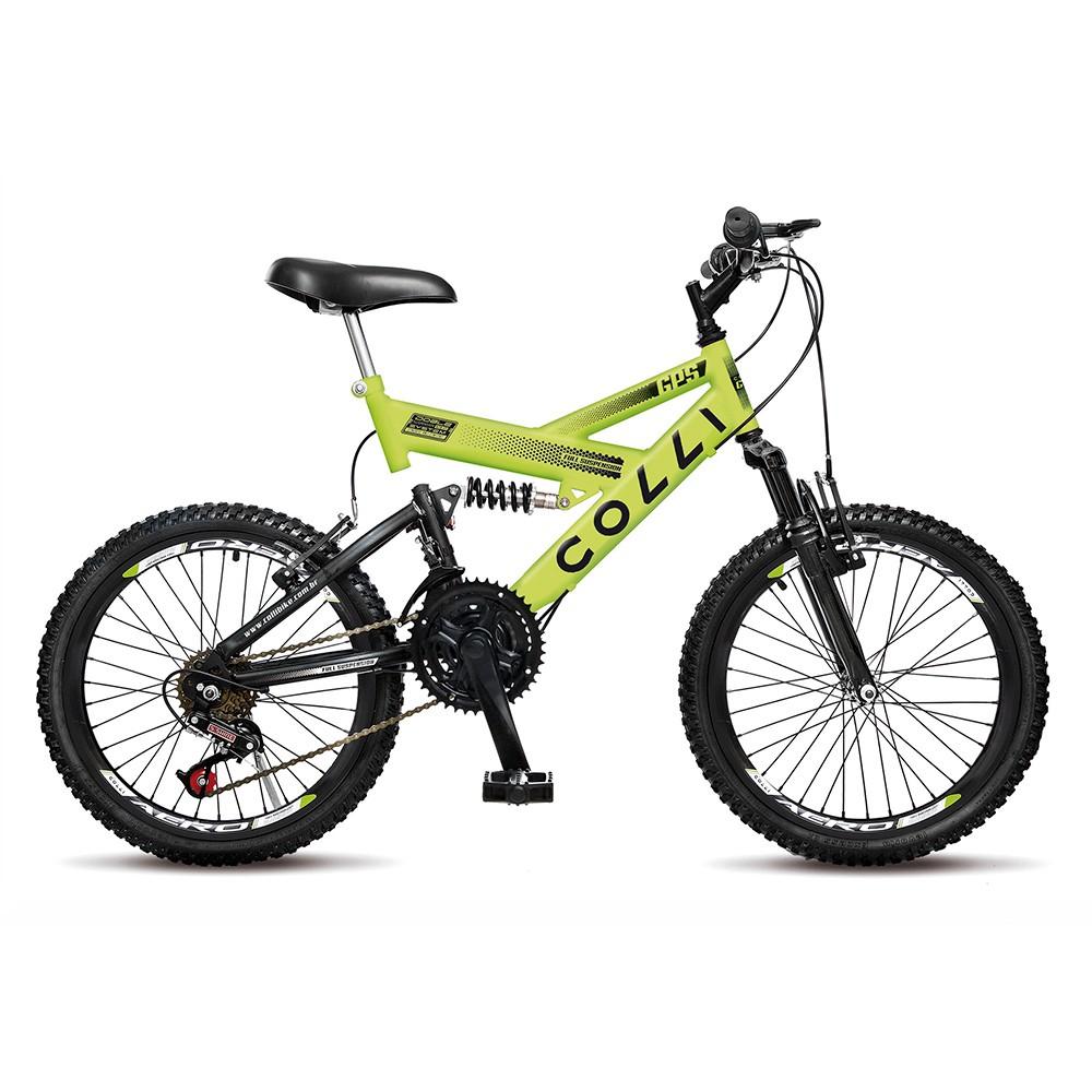 Bicicleta Infantil de Passeio Aro 20 Dupla Suspensão 21 Marchas Freio V-Brake GPS Quadro 15 Aço Amarelo Neon - Colli Bike