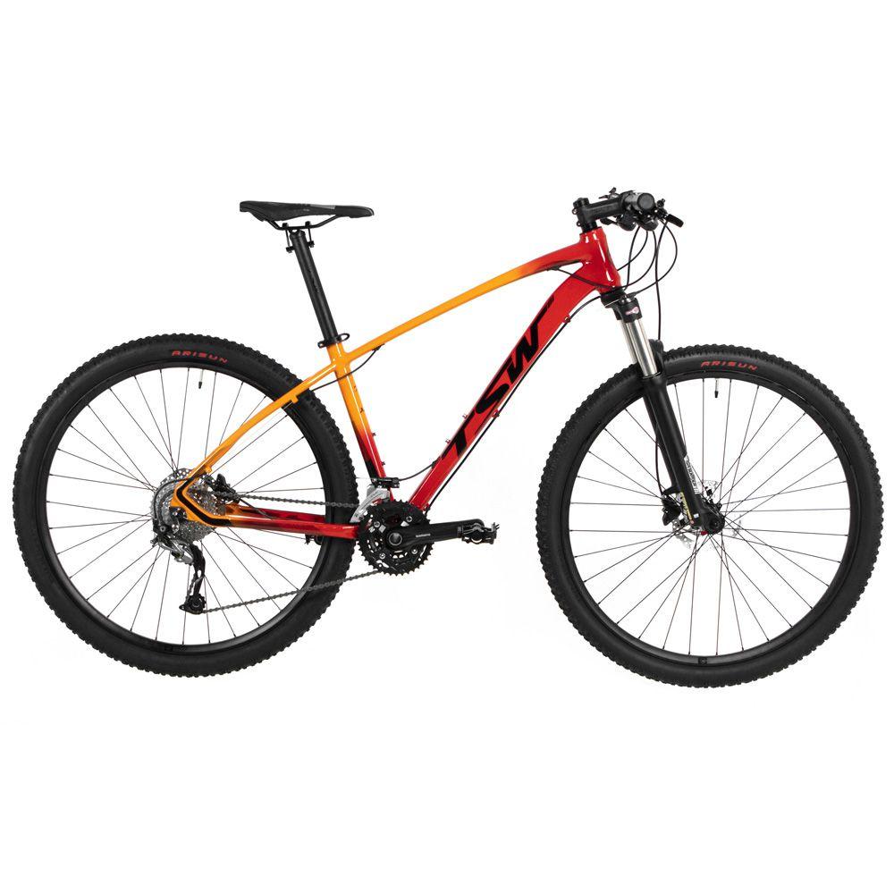 Bicicleta Jump Importada Aro 29 Suspensão Freio a Disco Quadro 17 Alumínio Laranja - TSW