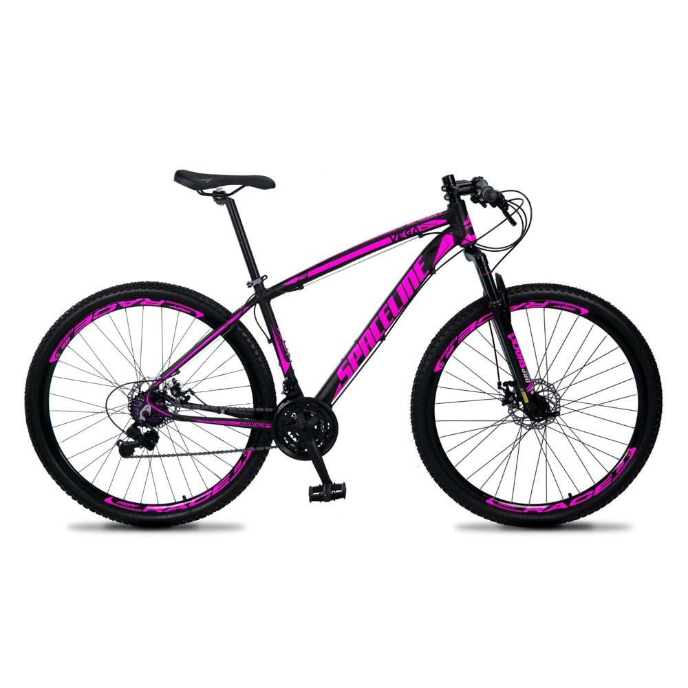 Bicicleta MTB Vega Aro 29 Quadro 15 Alumínio 21 Marchas Freio Mecânico Preto Rosa - Spaceline