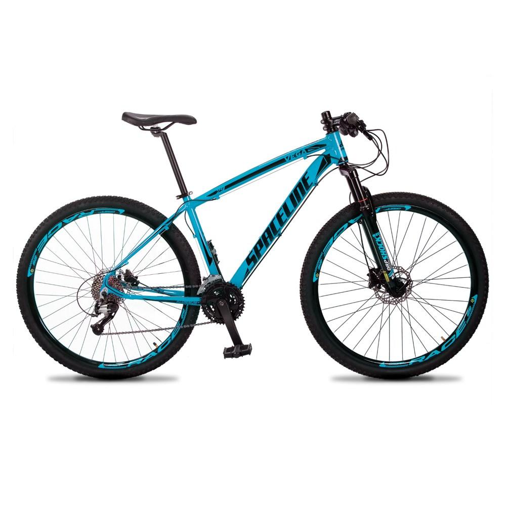 Bicicleta MTB Vega Aro 29 Quadro 15 Alumínio 27 Marchas Freio Hidráulico Azul - Spaceline