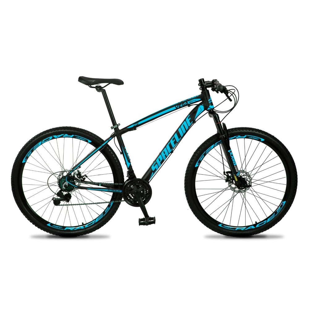 Bicicleta MTB Vega Aro 29 Quadro 19 Alumínio 21 Marchas Freio Mecânico Preto Azul - Spaceline