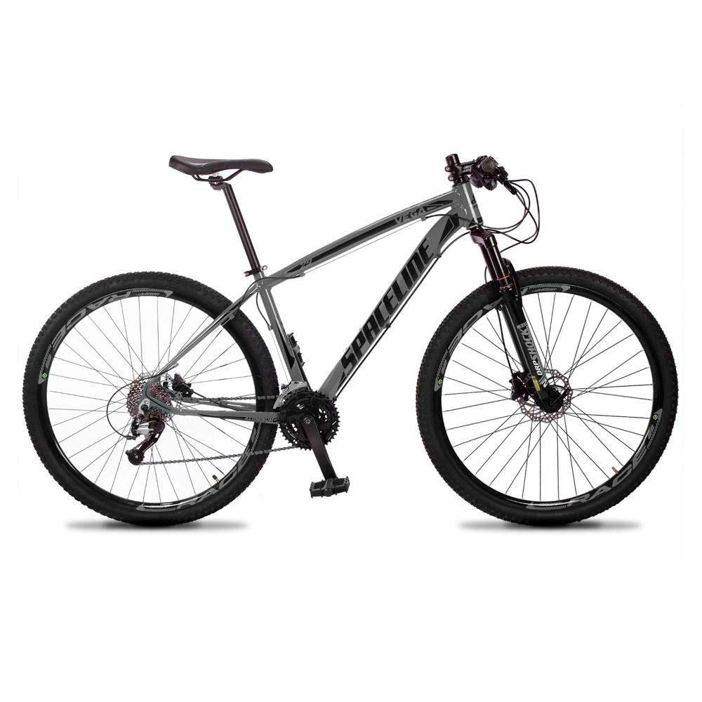 Bicicleta MTB Vega Aro 29 Quadro 19 Alumínio 27 Marchas Freio Hidráulico Cinza - Spaceline