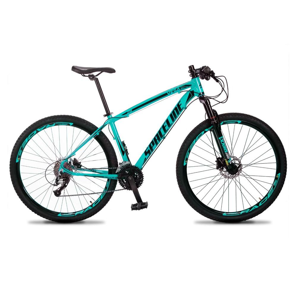 Bicicleta MTB Vega Aro 29 Quadro 19 Alumínio 27 Marchas Freio Hidráulico Verde Anis - Spaceline