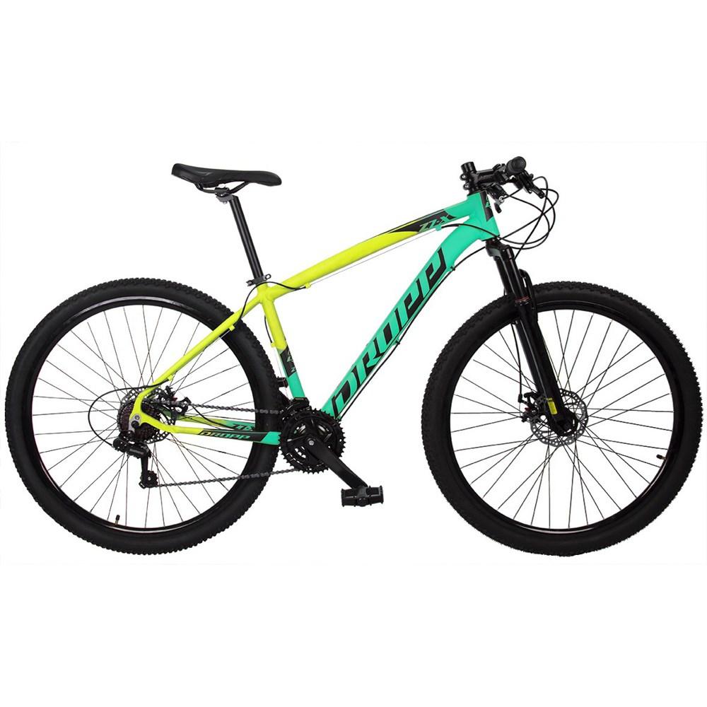 Bicicleta MTB Z7-X Aro 29 Quadro 15 Alumínio 21v Freio Disco Mecânico Verde Anis Amarelo - Dropp