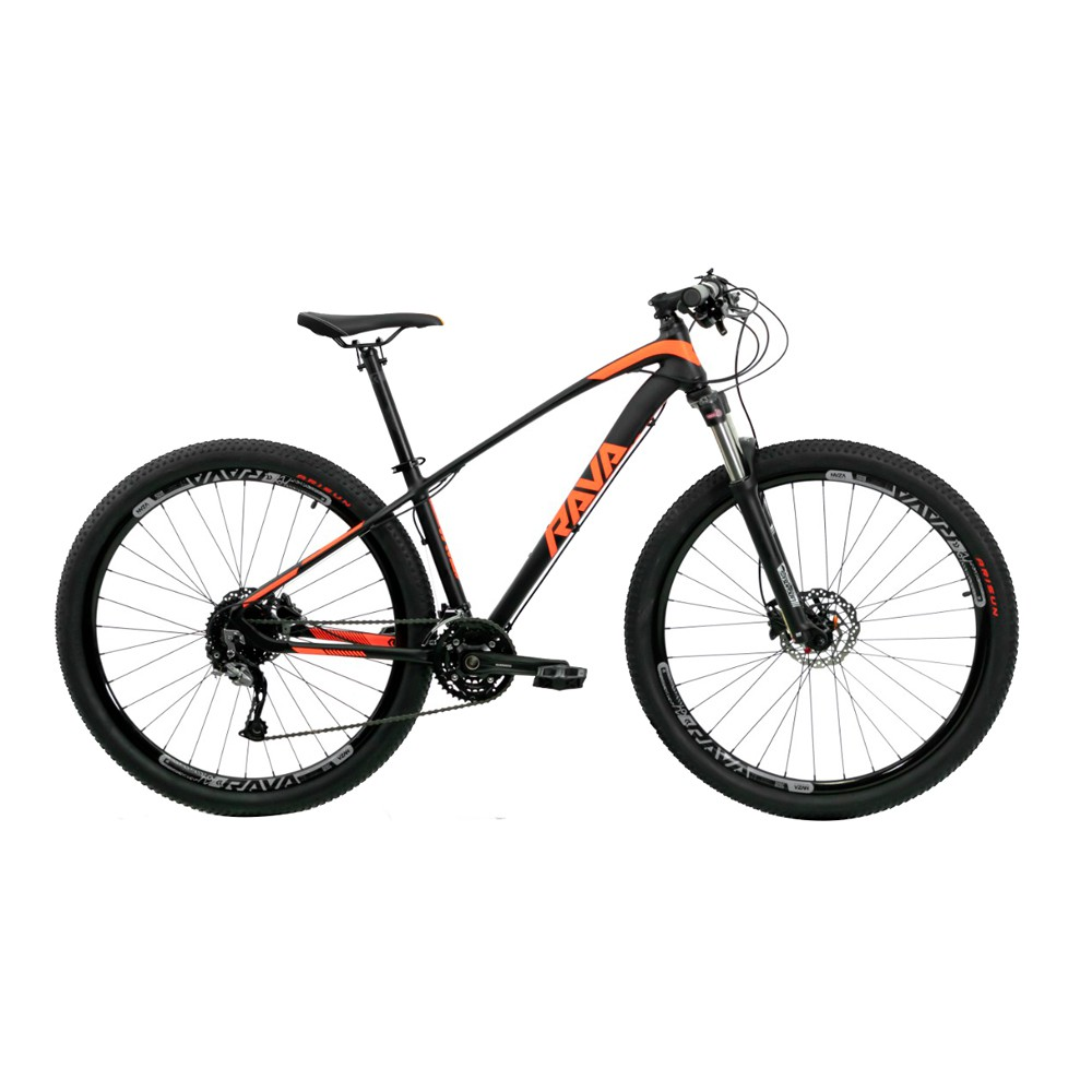 Bicicleta Rava Storm Aro 29'' Suspensão Freio Hidraulico kit Shimano Quadro 16' 27V Alumínio Laranja -TSW