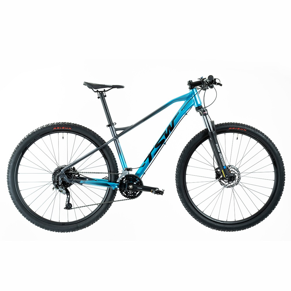 Bicicleta Stamina Importada Aro 29 Suspensão Freio a Disco Quadro 15,5 Alumínio Cinza/Azul - TSW