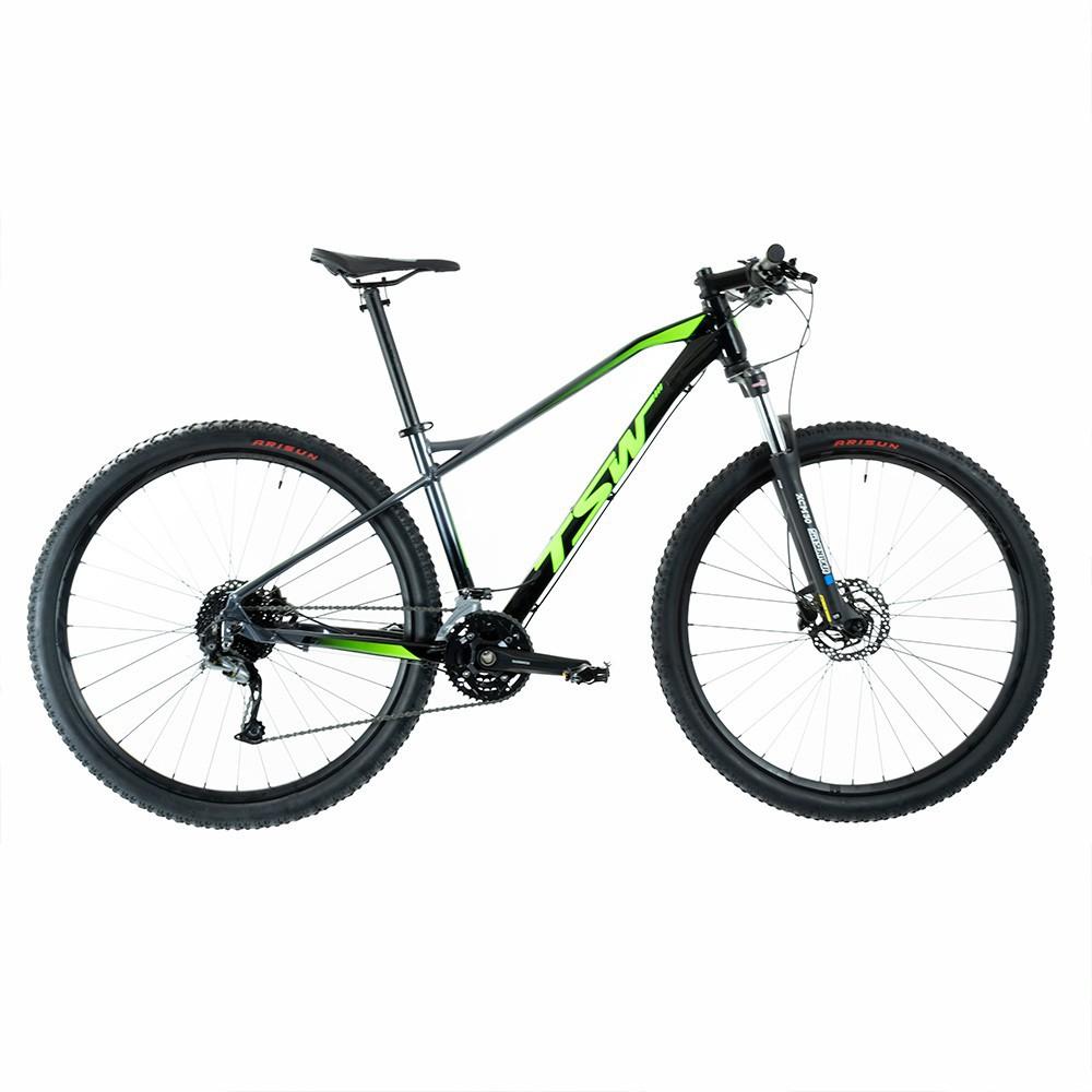 Bicicleta Stamina Importada Aro 29 Suspensão Freio a Disco Quadro 17 Alumínio Preta/Verde - TSW