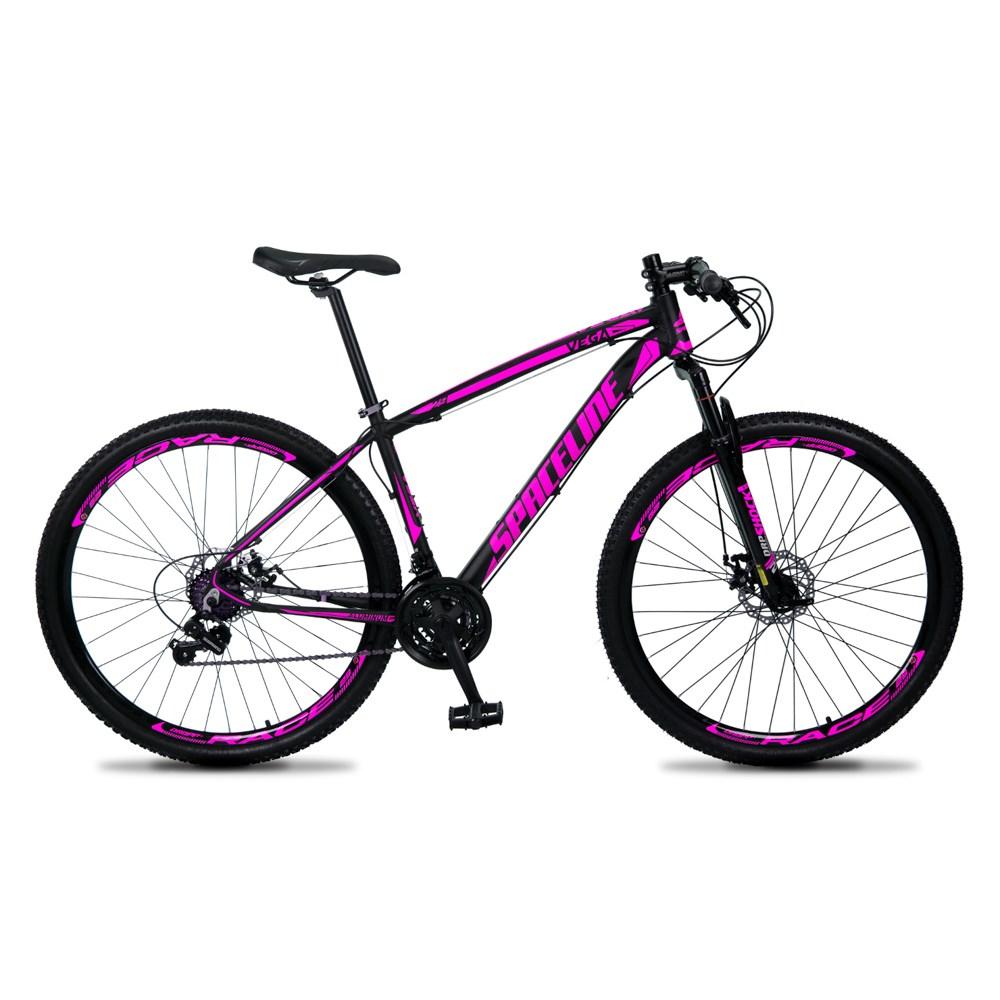 Bicicleta Vega Aro 29 Quadro 15 Câmbio Tras. Shimano 21v Freio Mecânico Preto Rosa - Spaceline