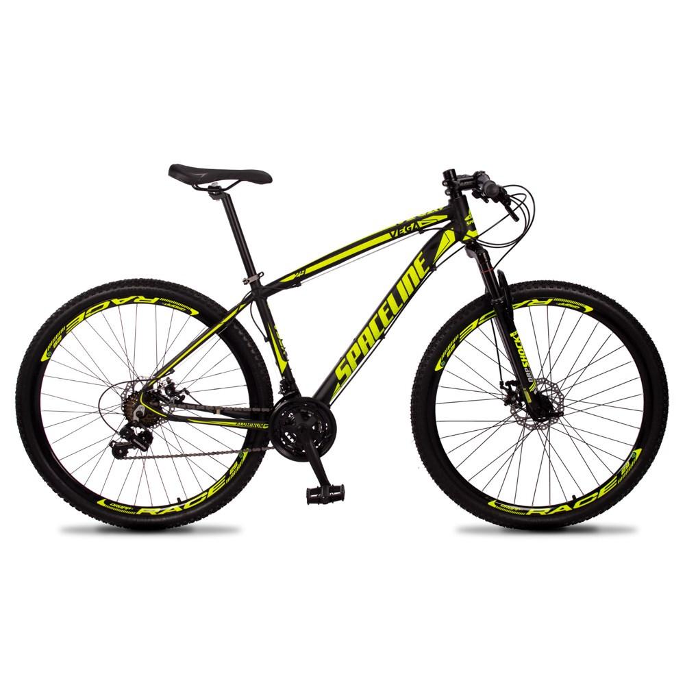 Bicicleta Vega Aro 29 Quadro 17 Câmbio Tras. Shimano 21v Freio Mecânico Preto Amarelo - Spaceline