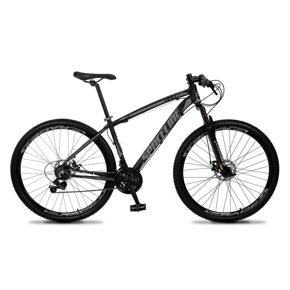 Bicicleta Vega Aro 29 Quadro 17 Câmbio Tras. Shimano 21v Freio Mecânico Preto Cinza - Spaceline