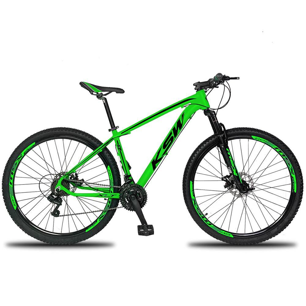 Bicicleta XLT Aro 29 Freio a Disco Suspensão 21 Marchas Quadro 17 Alumínio Verde Preto - KSW