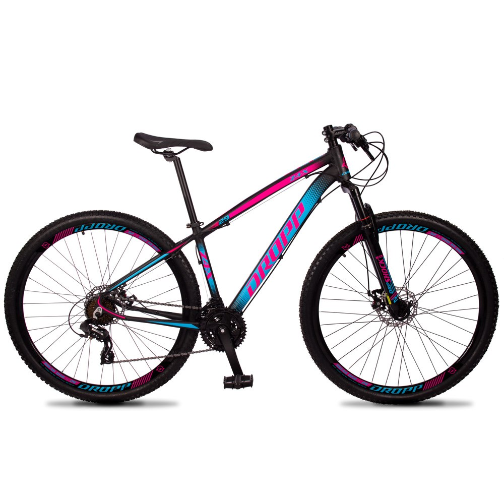 Bicicleta Z4-X Aro 29 Quadro 19 Alumínio 24 Marchas Freio Disco Mecânico Preto Rosa Azul - Dropp