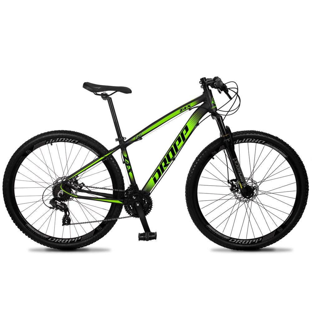 Bicicleta Z4-X Aro 29 Quadro 19 Alumínio 24v Suspensão Trava Freio Hidráulico Preto Verde - Dropp