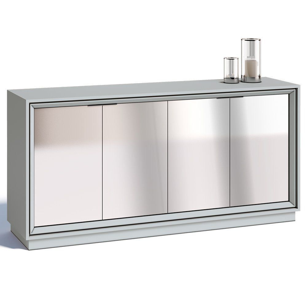 Buffet Ópera 4 Portas com Espelho Branco Acetinado - Imcal