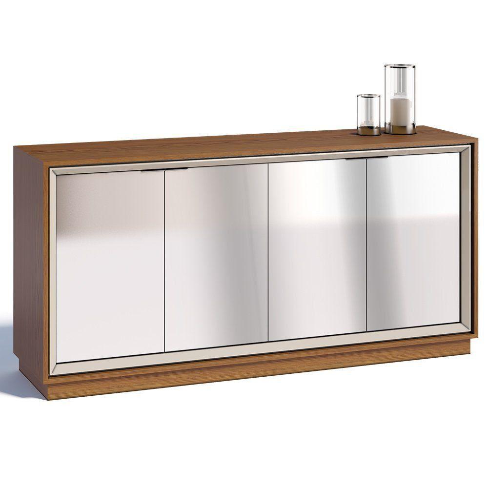 Buffet Ópera 4 Portas com Espelho Off White/ Freijó - Imcal