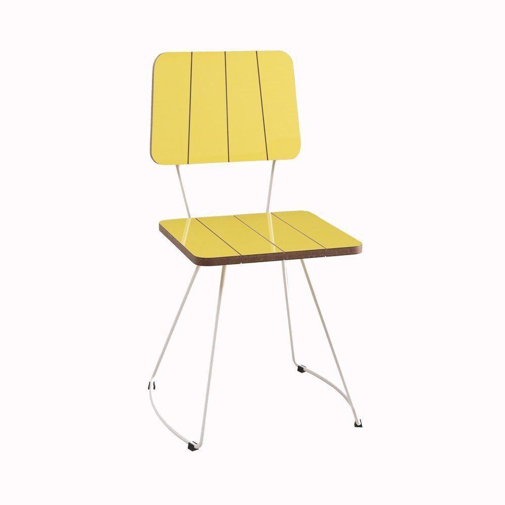 Cadeira Costela Meia Lua Amarelo - Daf Mobiliário