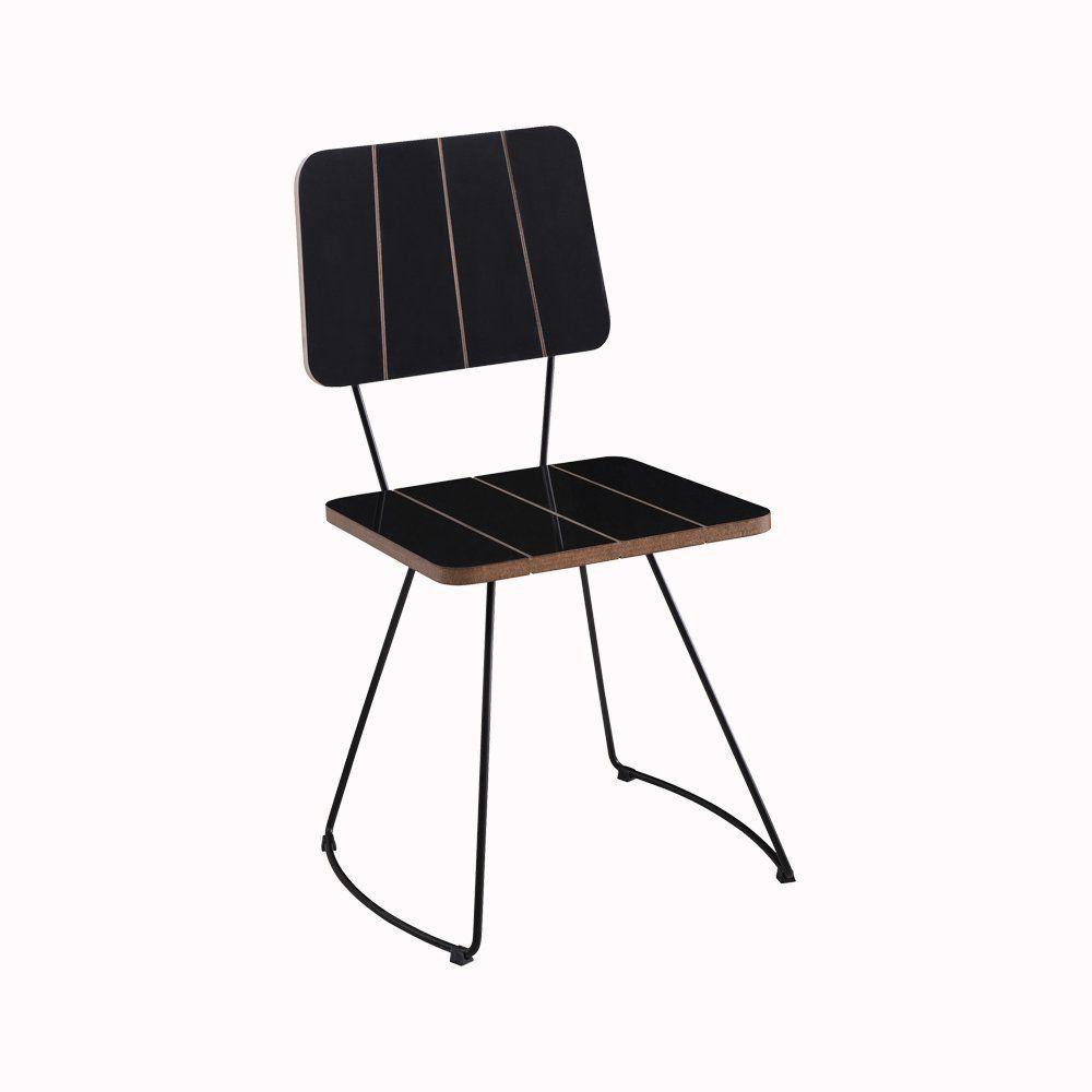Cadeira Costela Meia Lua Preto - Daf Mobiliário