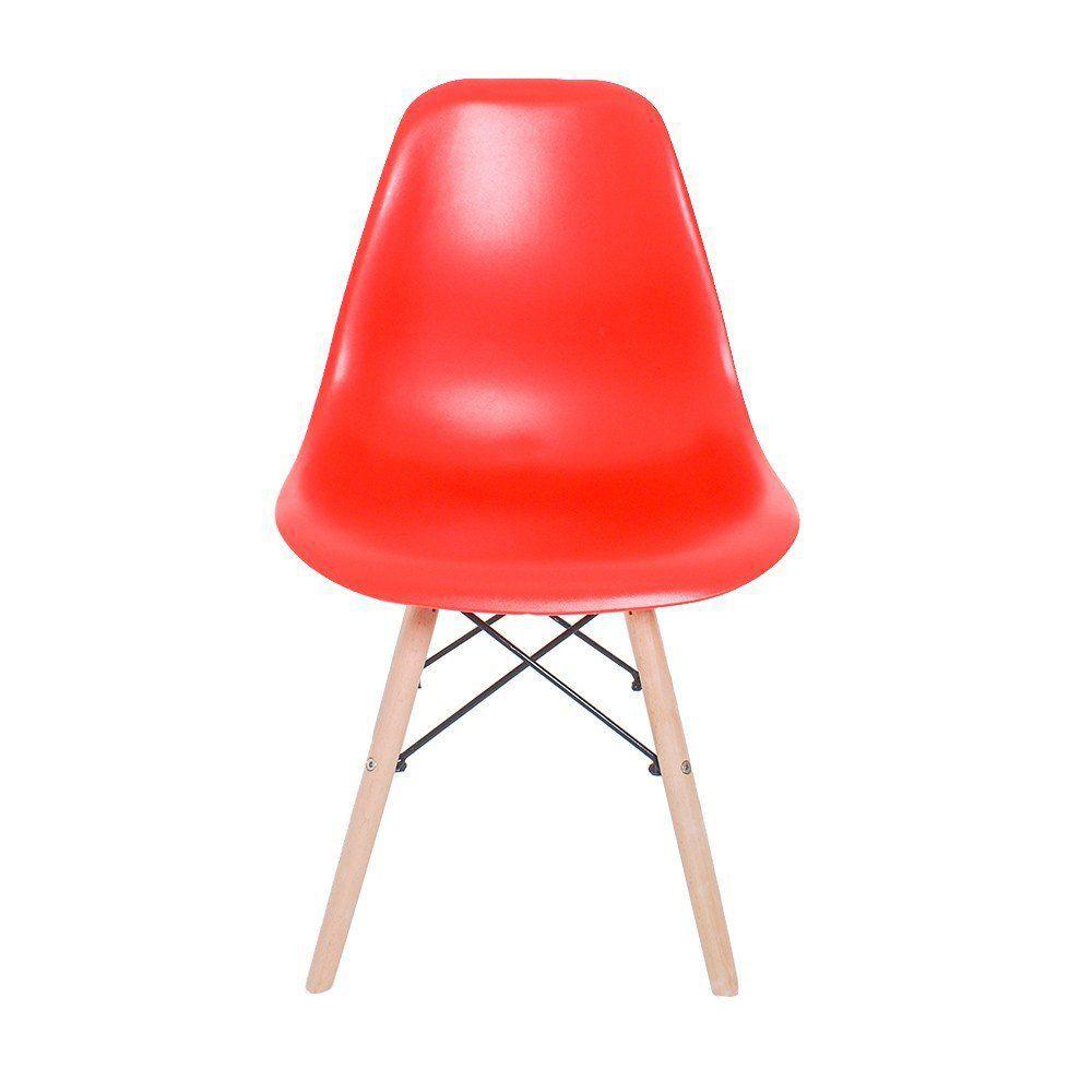 Cadeira Eiffel Charles Eames em ABS com Base de Madeira DSW Vermelho - Facthus