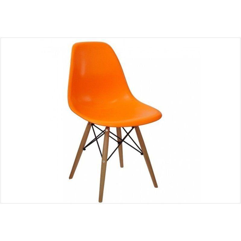 Cadeira Eiffel Charles Eames em ABS Laranja com Base de Madeira DSW