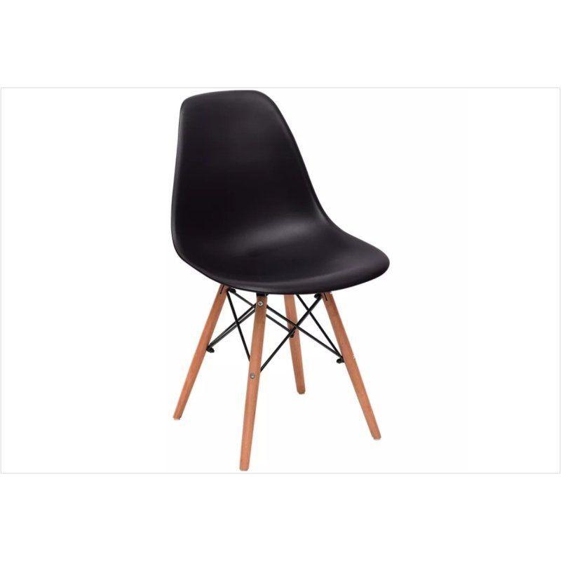 Cadeira Eiffel Charles Eames em ABS Preta com Base de Madeira DSW - Facthus