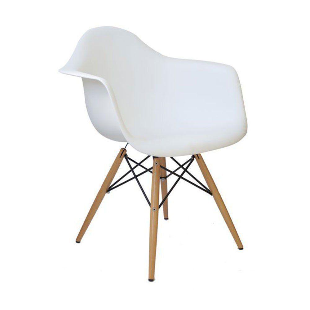Cadeira Charles Melbourne com Base de Madeira Branca - Facthus