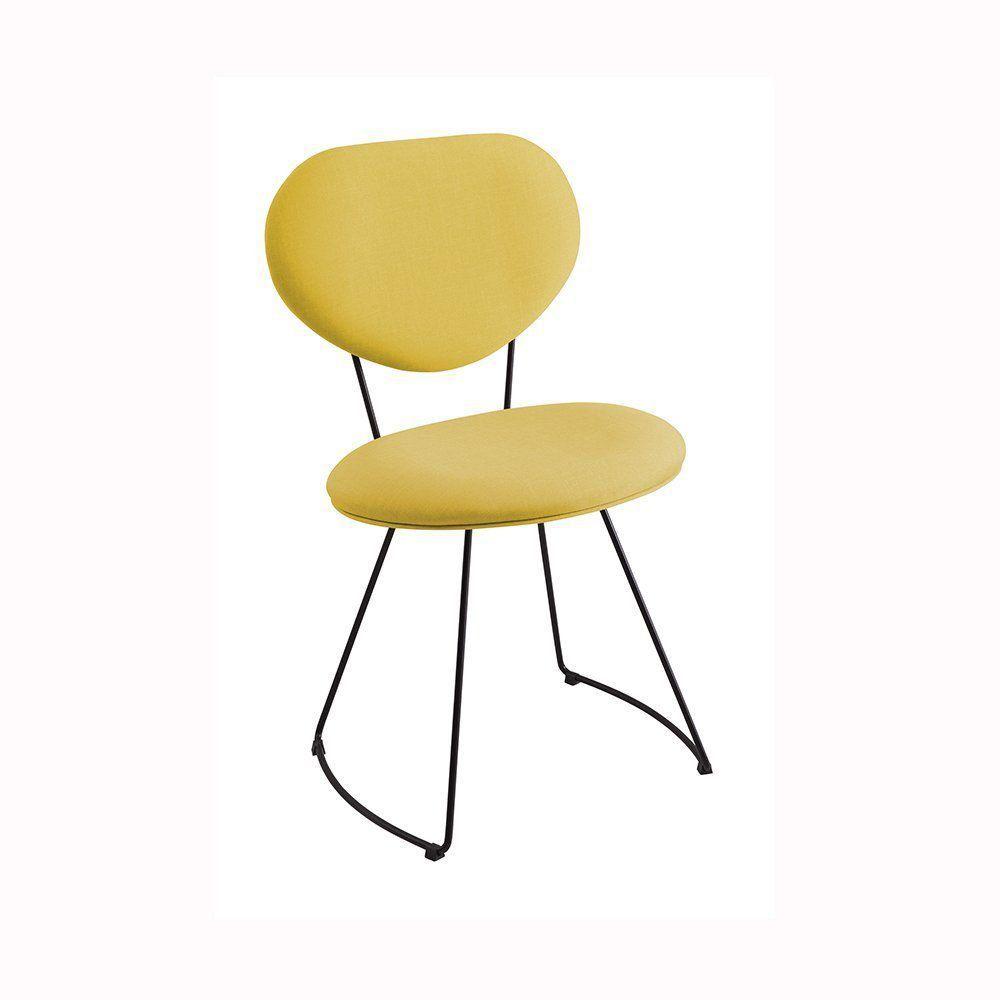 Cadeira Milão Meia Lua Linho Amarelo - Daf Mobiliário