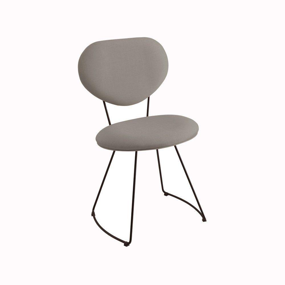 Cadeira Milão Meia Lua Linho Cinza - Daf Mobiliário