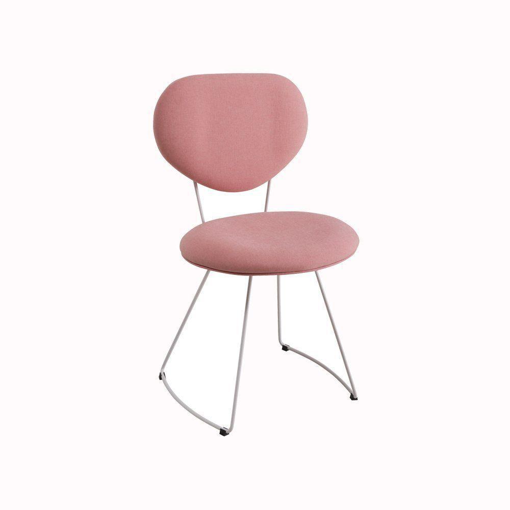 Cadeira Milão Meia Lua Linho Rosa - Daf Mobiliário