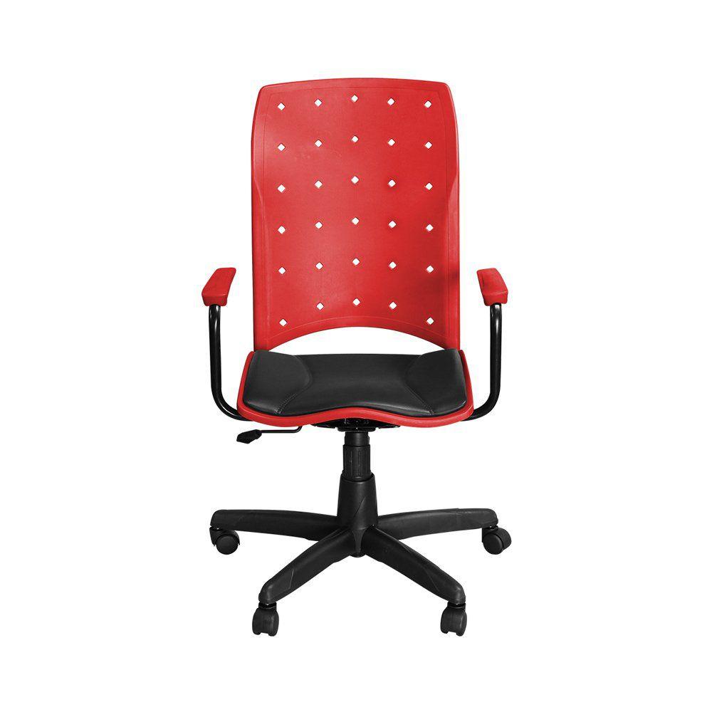 Cadeira para Escritório Iso Presidente Giratória Vermelho - Pethiflex