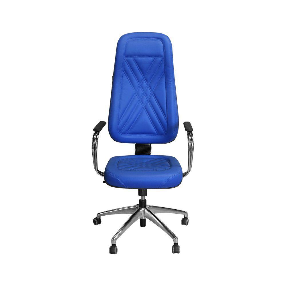 Cadeira para Escritório PP-01GCBC Giratória Couro Azul - Pethiflex