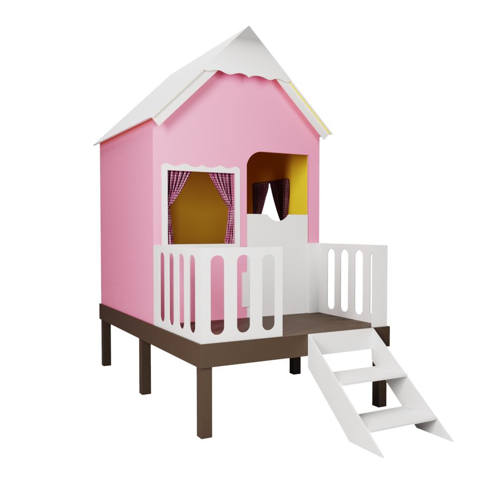 Casinha de Brinquedo Alta Rosa com Cercado e Telhado Branco - Criança Feliz
