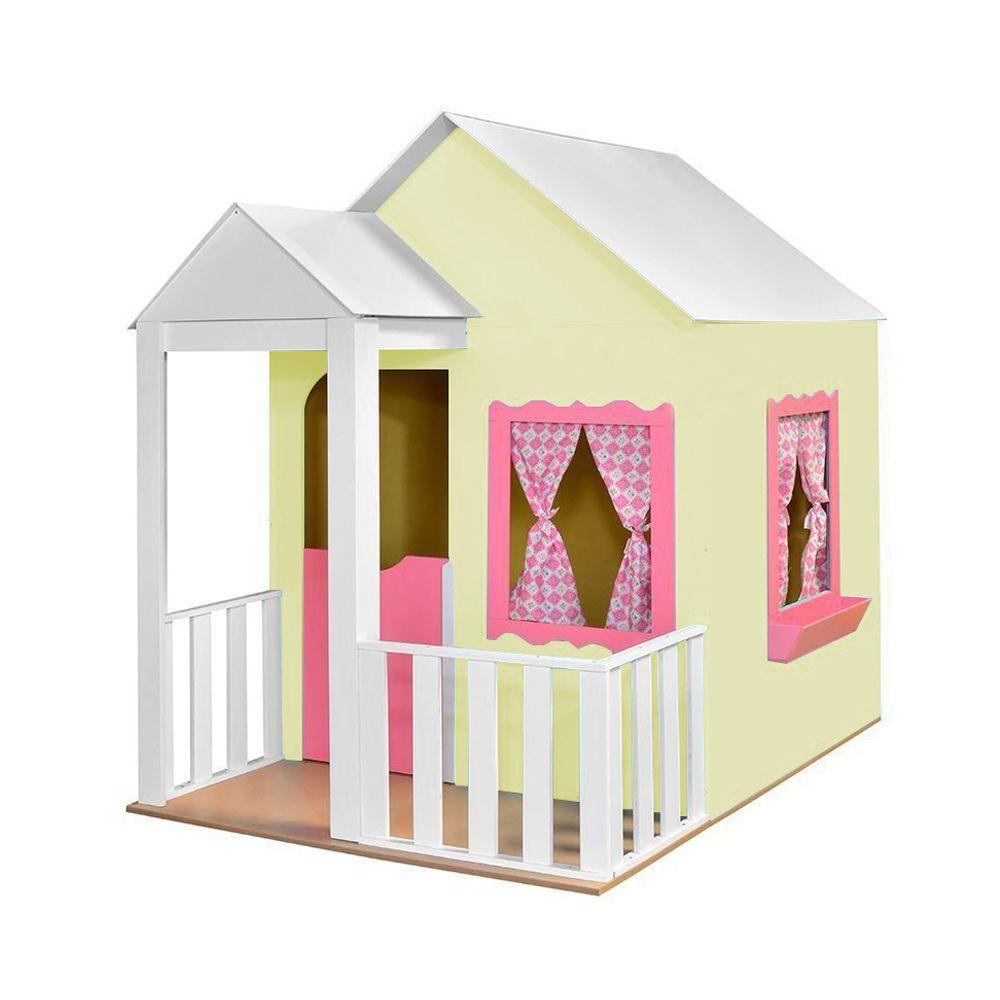 Casinha de Brinquedo com Cercado Amarelo/Rosa - Criança Feliz