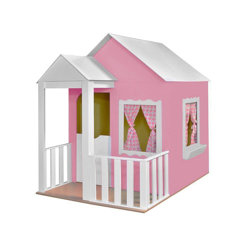 Casinha de Brinquedo com Cercado Rosa/Branco - Criança Feliz