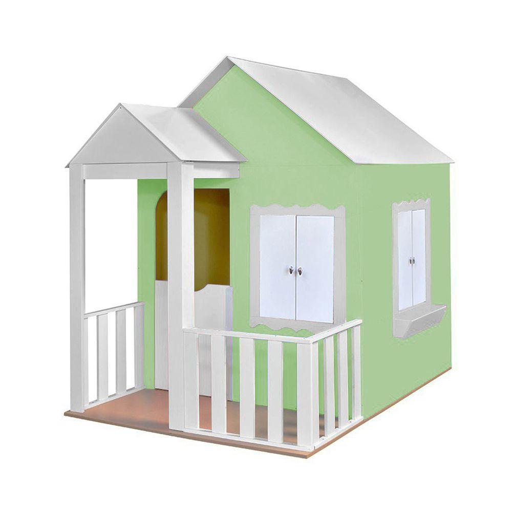 Casinha de Brinquedo com Cercado Verde/Branco - Criança Feliz