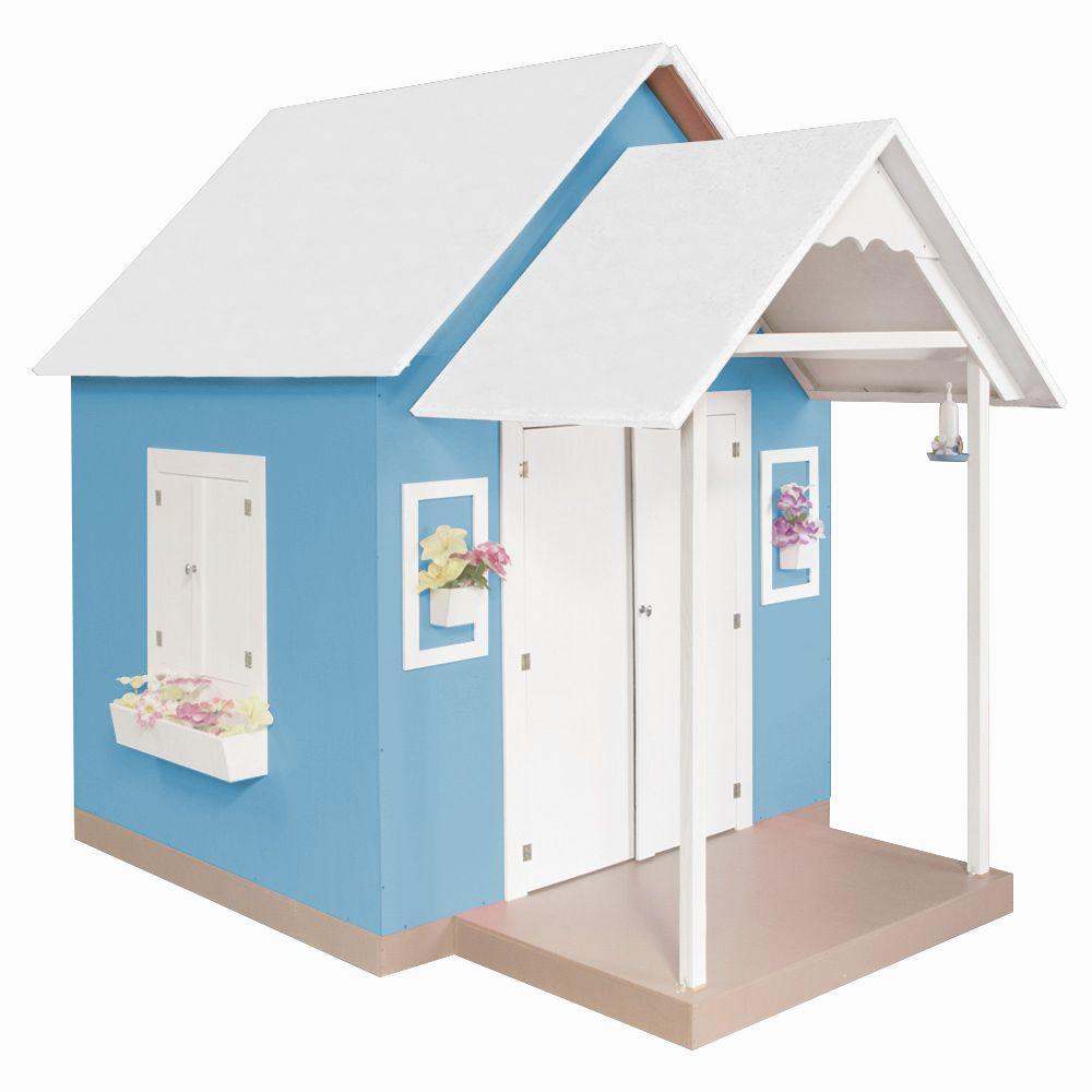 Casinha de Brinquedo com Telhado Branco/Azul - Criança Feliz