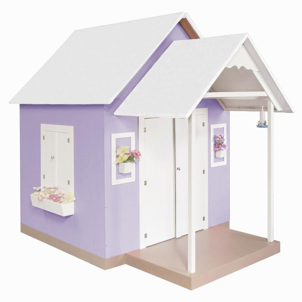 Casinha de Brinquedo com Telhado Branco/Lilás - Criança Feliz