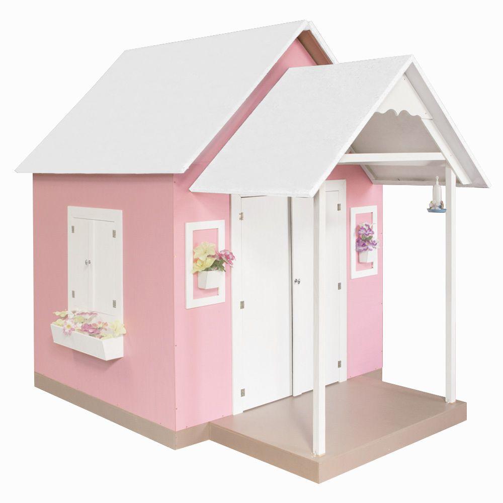 Casinha de Brinquedo com Telhado Branco/Rosa - Criança Feliz